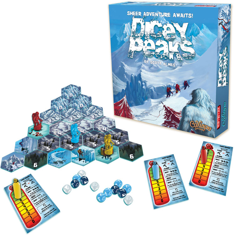 Dicey Peaks board game box and components