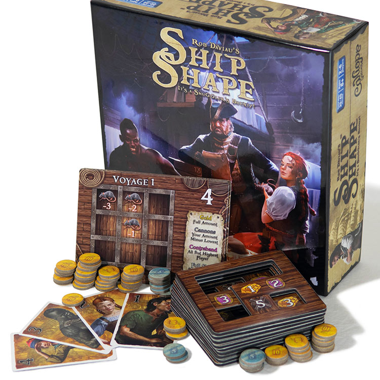 ShipShape board game box art and components