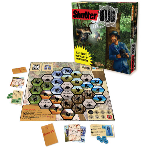 ShutterBug board game box art and components