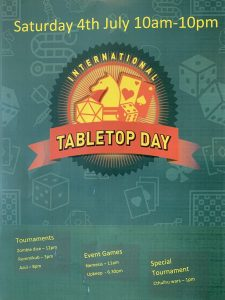 Cakes n Ladders poster for International TableTop Day 2020 and list of events